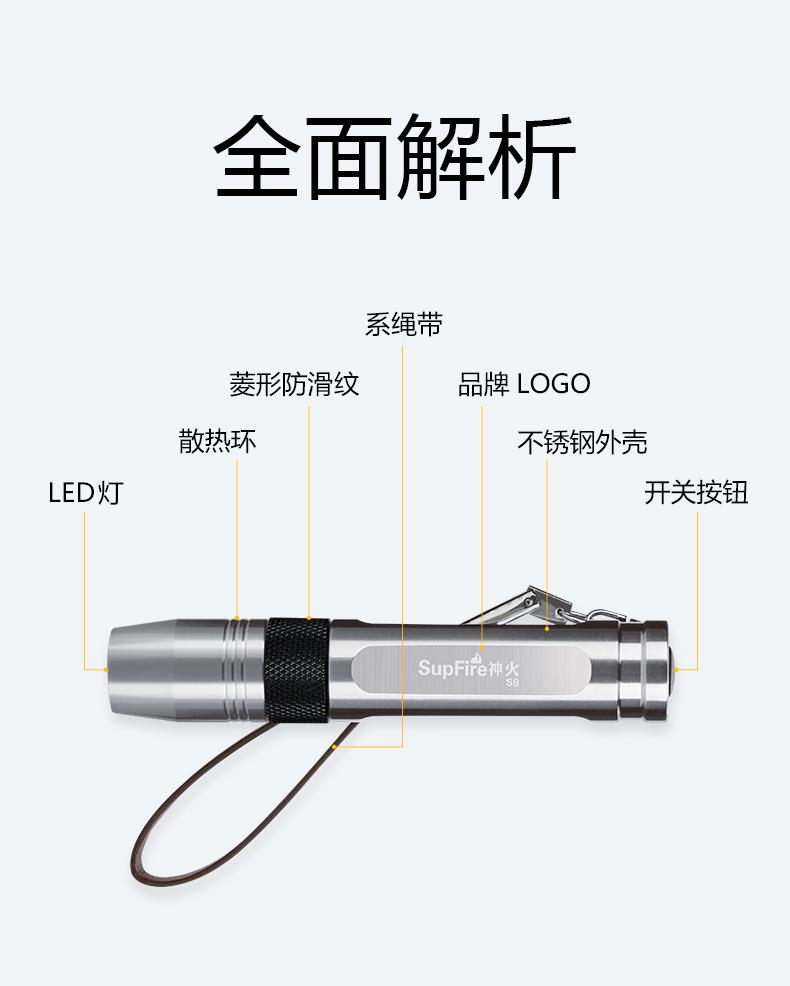 Supfire神火S9照玉石专用手电筒外观介绍
