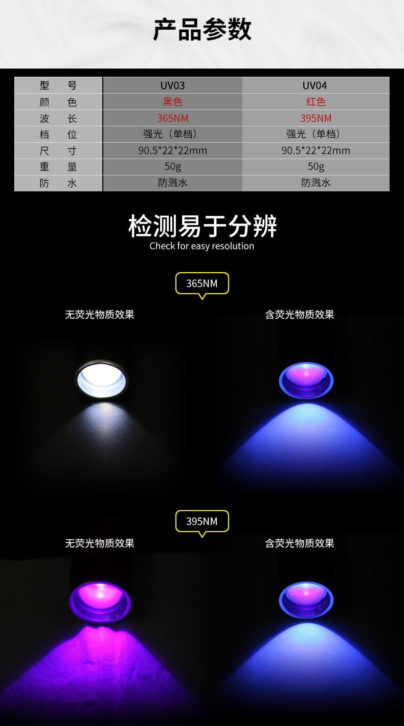 Supfire神火测试荧光剂检测笔365nm紫光灯手电筒面膜验钞紫外线灯产品参数介绍