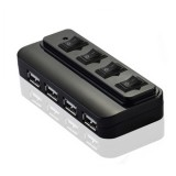 源欣 HUB 分线器 USB2.0 4口独立开关 线长0.8米 独立供电