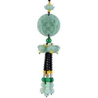 汽车挂件水晶葫芦貔貅挂饰绿玉莲花车载吊坠平安车内挂件貔貅