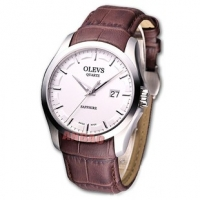 香港欧利时瑞士原装正品时装系列 时尚大表盘真皮带男士手表