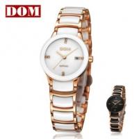 女表 正品 香港DOM 防水 高贵 间金 陶瓷 时装表女士手表 护士表