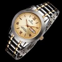 沃尔达正品大表盘男士手表双日历全自动机械男表带星期防水防划